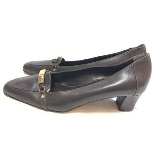 Brooks Brothers Brown Kitten Heeled Loafers